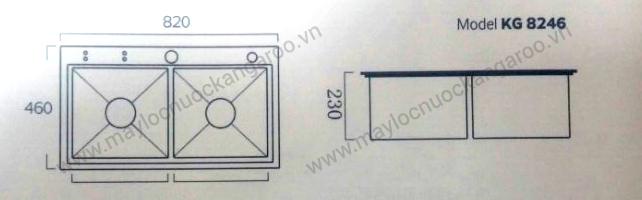 Thông số kỹ thuật chậu rửa inox KG8246