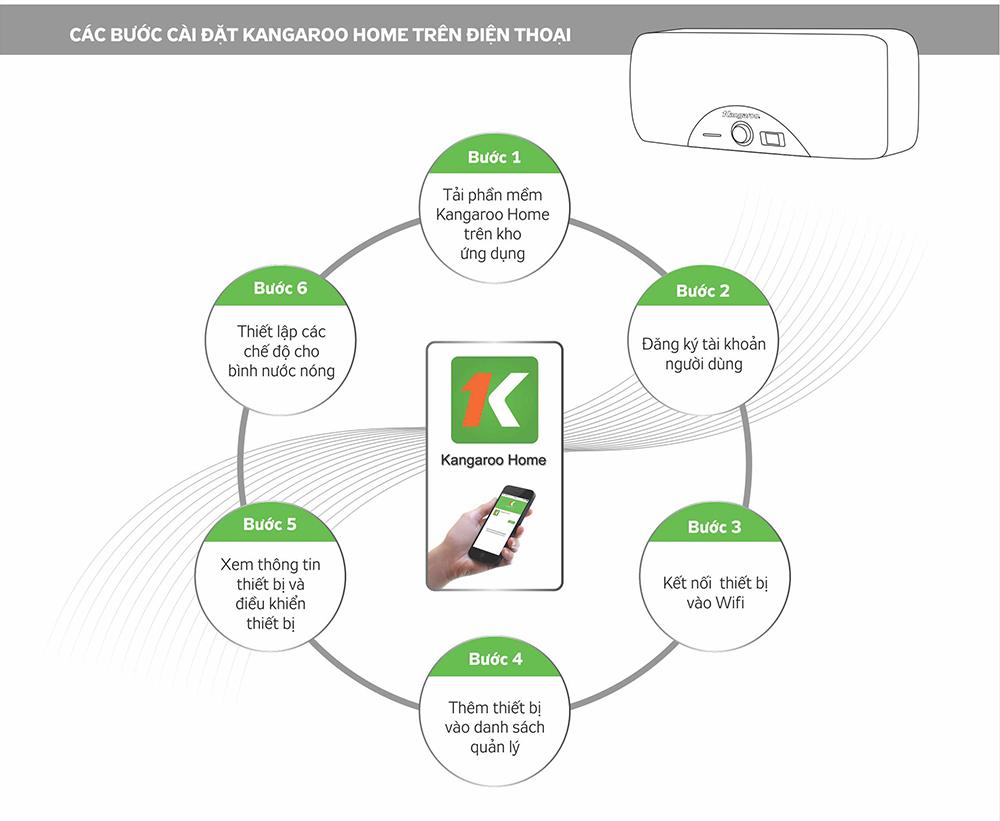 Cài đặt ứng dụng Kangaroo Home để điều khiển bình IoT
